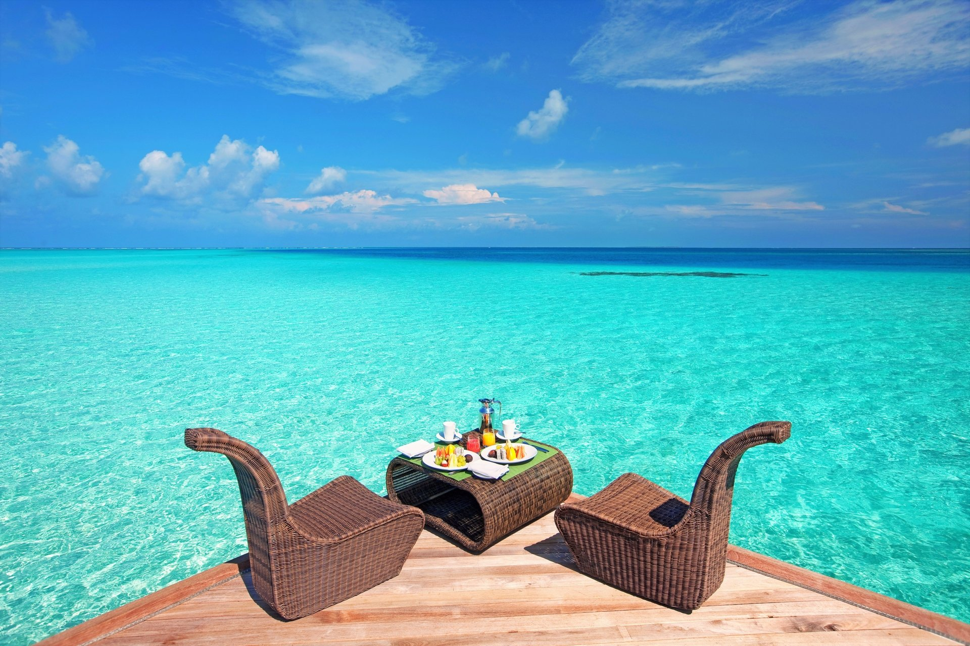 Man Made - Resort  Tropical Ocean Sea Turquoise Chair Table Lunch Horizon Wallpaper