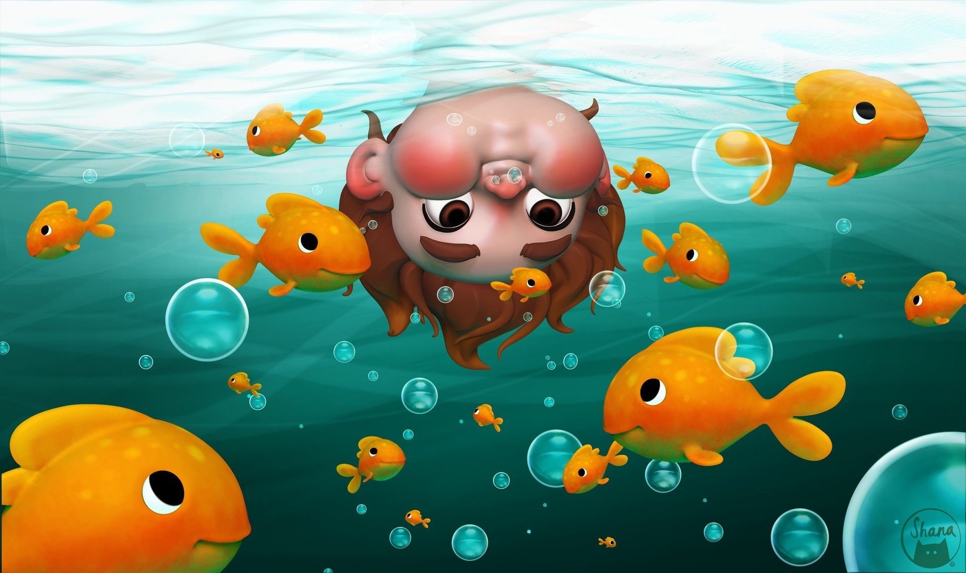 Fantasy - Child  Underwater Bubble Fish Boy Little Boy Brown Eyes Wallpaper