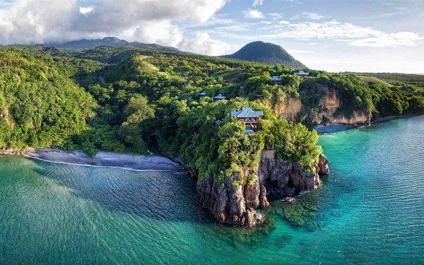 Photography Coastline Earth Rock Bay Ocean Sea Caribbean Forest House HD Wallpaper | Background Image