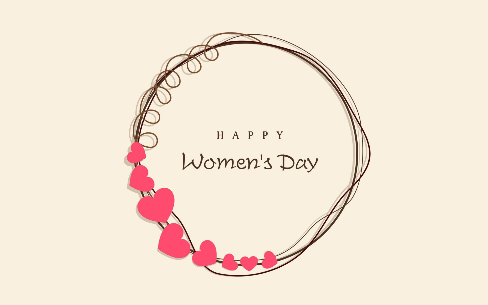 Holiday - Women's Day  Heart Circle Minimalist Statement Happy Women's Day Wallpaper