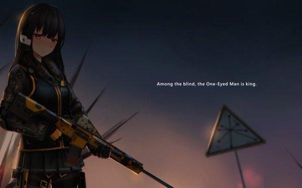 Anime Original Gun Rifle Red Eyes HD Wallpaper | Background Image