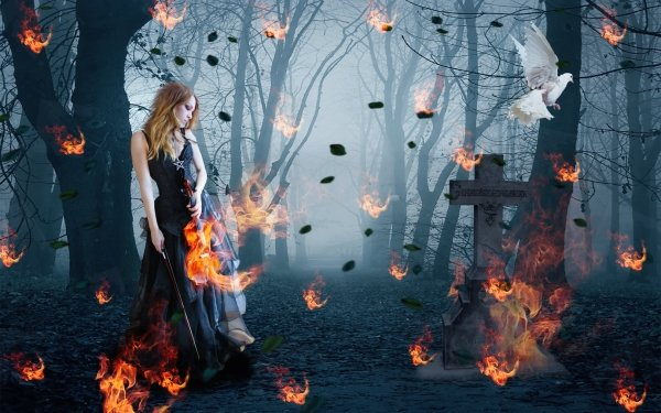 Dark Gothic Flame Headstone Cross Bird Dove Violinist Violin HD Wallpaper   Background Image