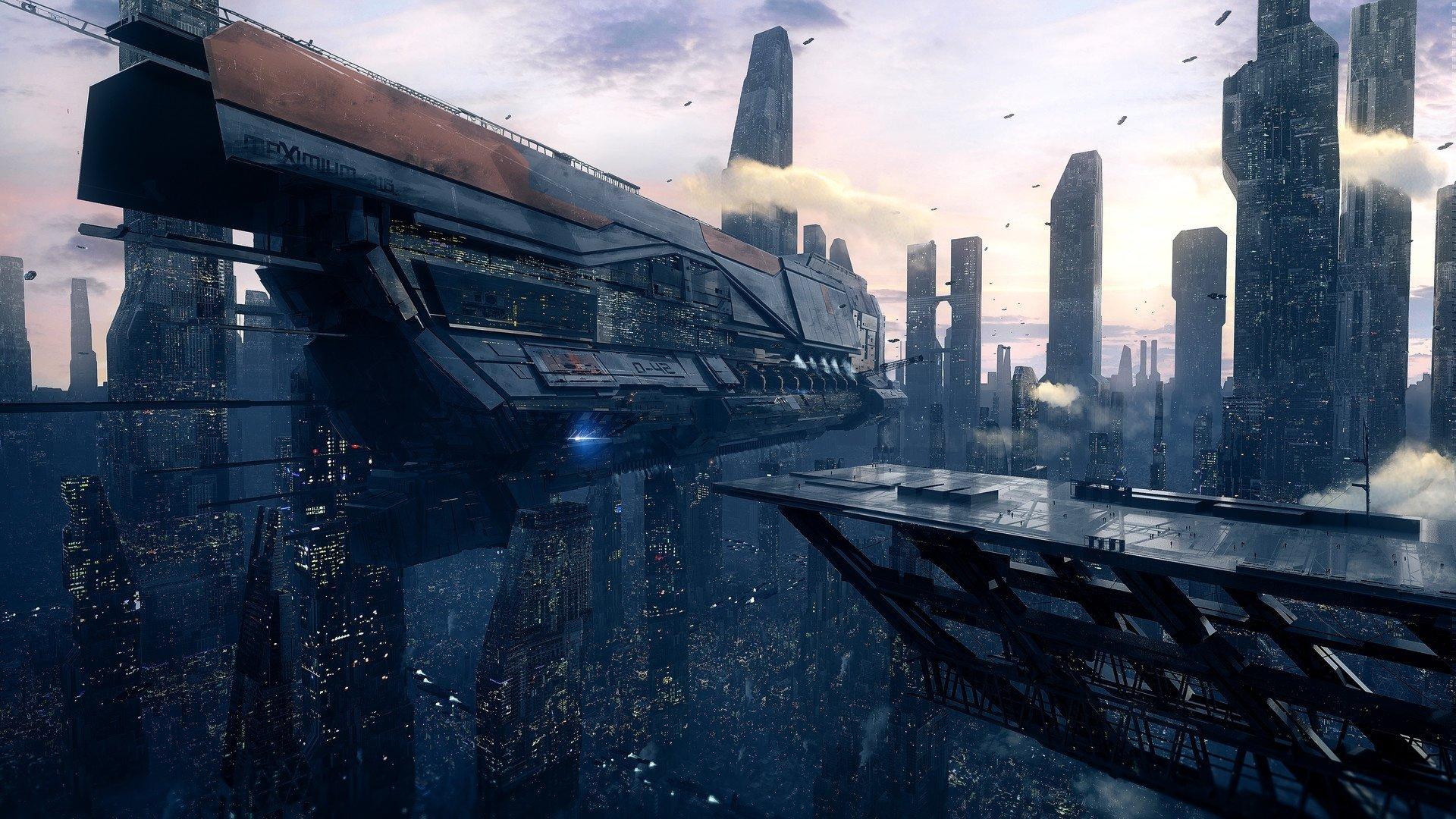 Sci Fi - Spaceship  City Futuristic Skyscraper Wallpaper