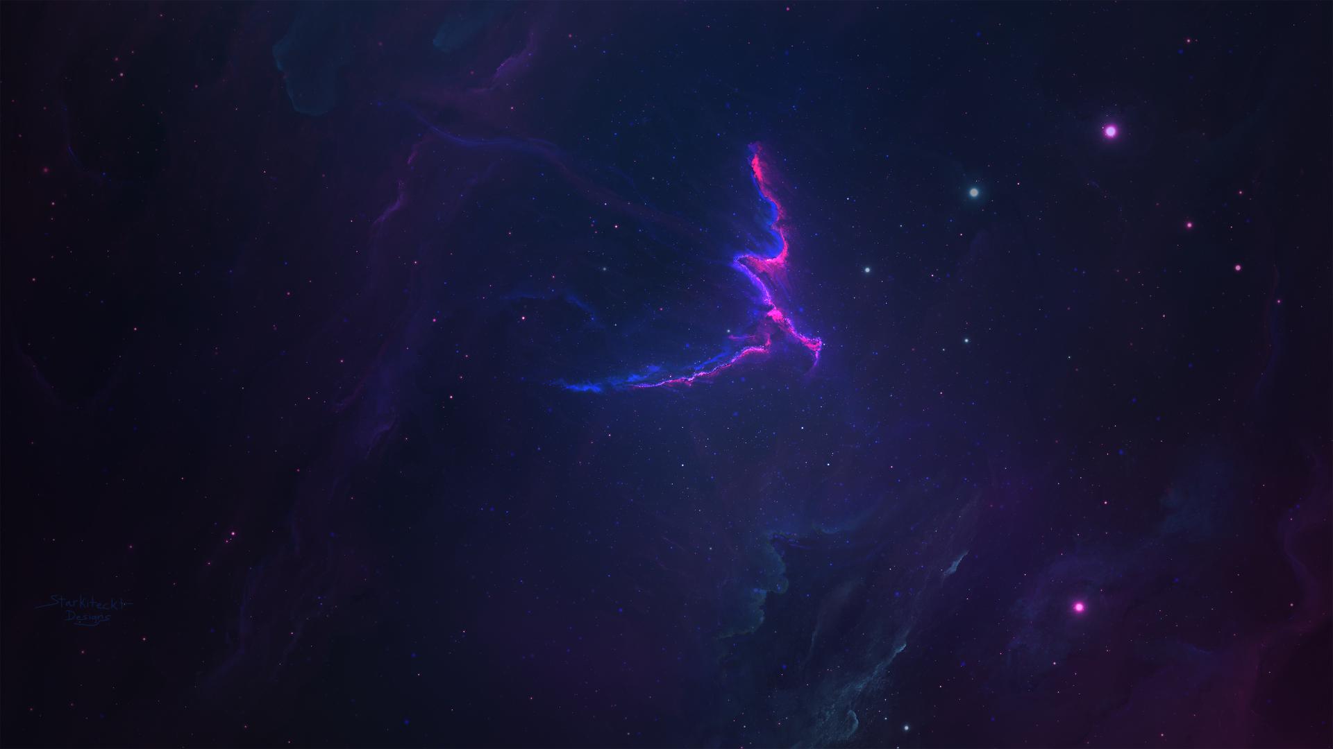 Sci Fi - Nebula  Space Cosmos Abstract Blue Purple Dark Wallpaper