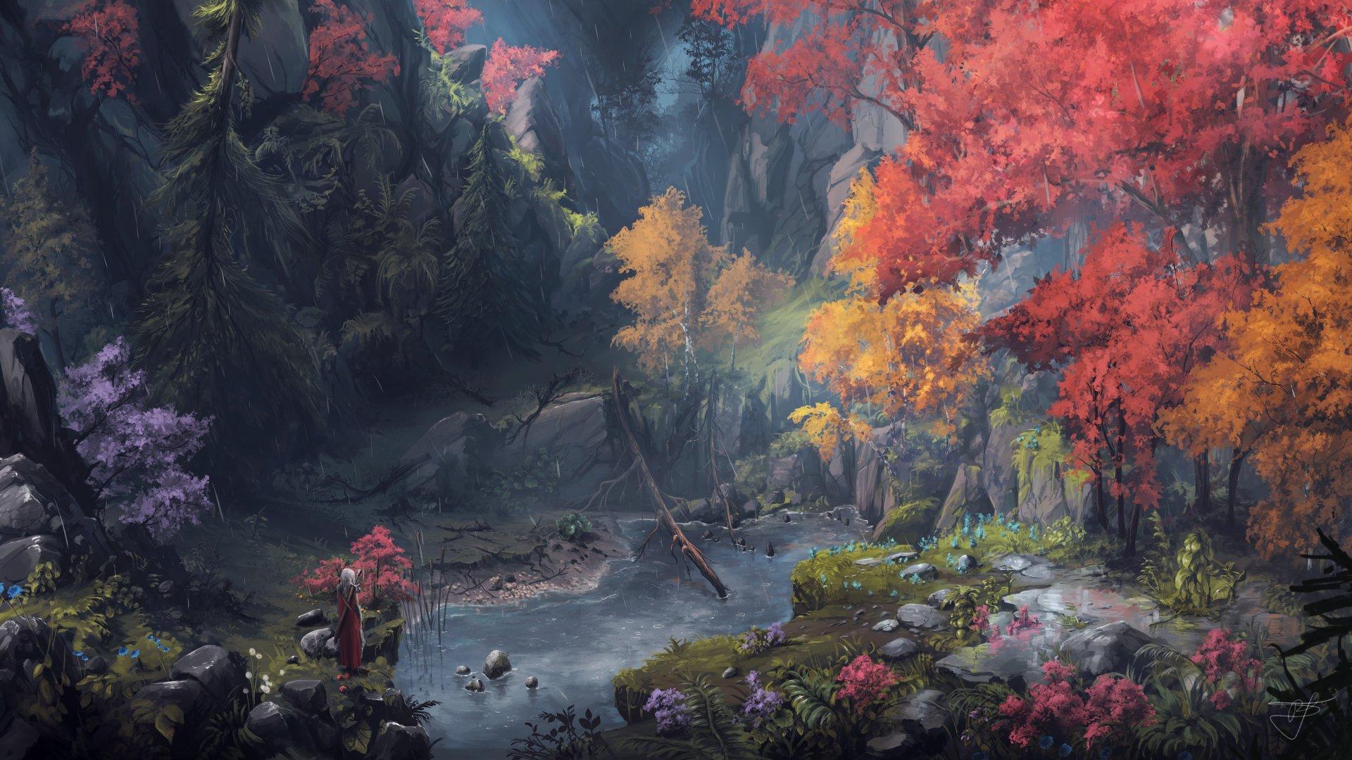 Fantasy - Women Warrior  Woman Warrior Nature Girl Fall Forest Wallpaper