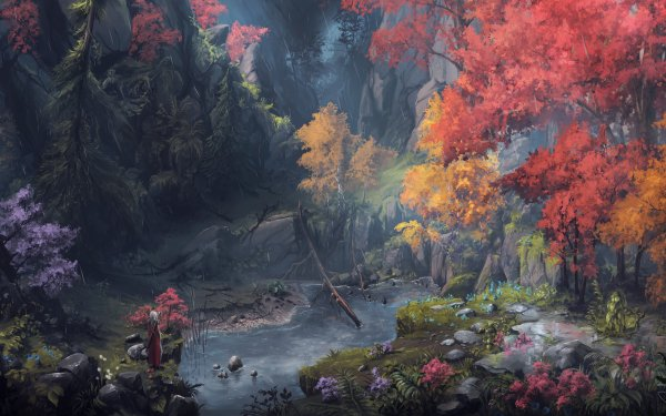 Fantasy Women Warrior Woman Warrior Nature Fall Forest HD Wallpaper | Background Image