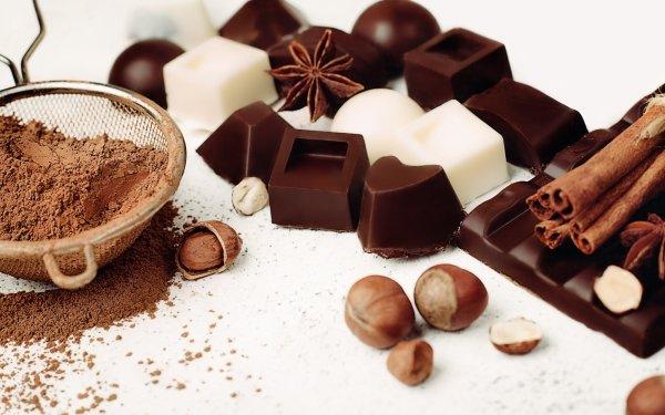 Food Chocolate Still Life Sweets Star Anise Hazelnut Cinnamon HD Wallpaper | Background Image