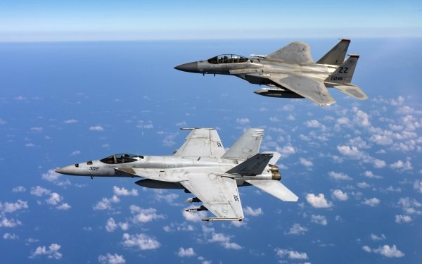 Military Jet Fighter Jet Fighters Aircraft Warplane McDonnell Douglas F-15 Eagle Boeing F/A-18E/F Super Hornet HD Wallpaper   Background Image