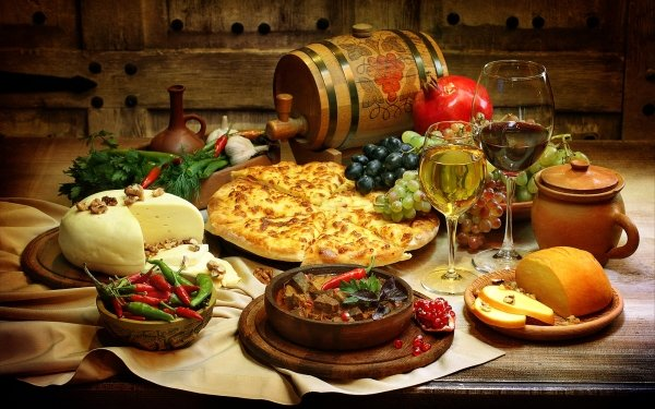Food Still Life Barrel Cheese Pizza Bread Pepper Wine HD Wallpaper | Background Image