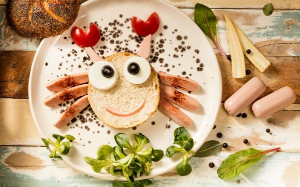 Food Still Life Bread Sausage Humor Face HD Wallpaper | Background Image