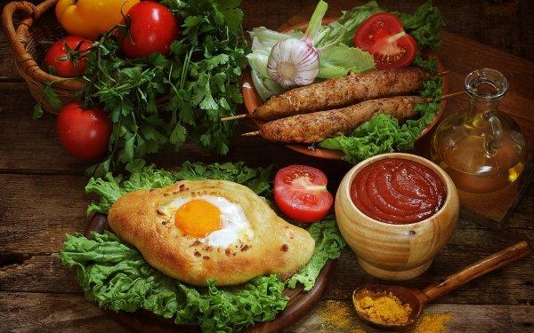 Food Still Life Ketchup Egg Tomato HD Wallpaper | Background Image