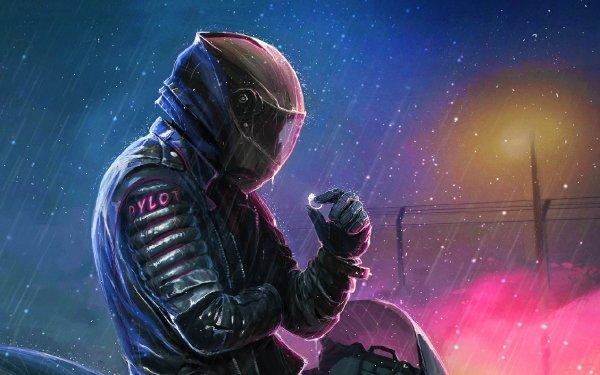 Sci Fi Men Man Rain Helmet Night HD Wallpaper | Background Image