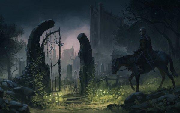 Fantasy Knight Warrior Night Cemetery HD Wallpaper | Background Image
