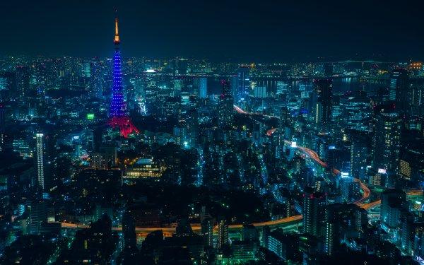 Man Made Tokyo Cities Japan Tokyo Tower City Night Building Skyscraper HD Wallpaper | Background Image