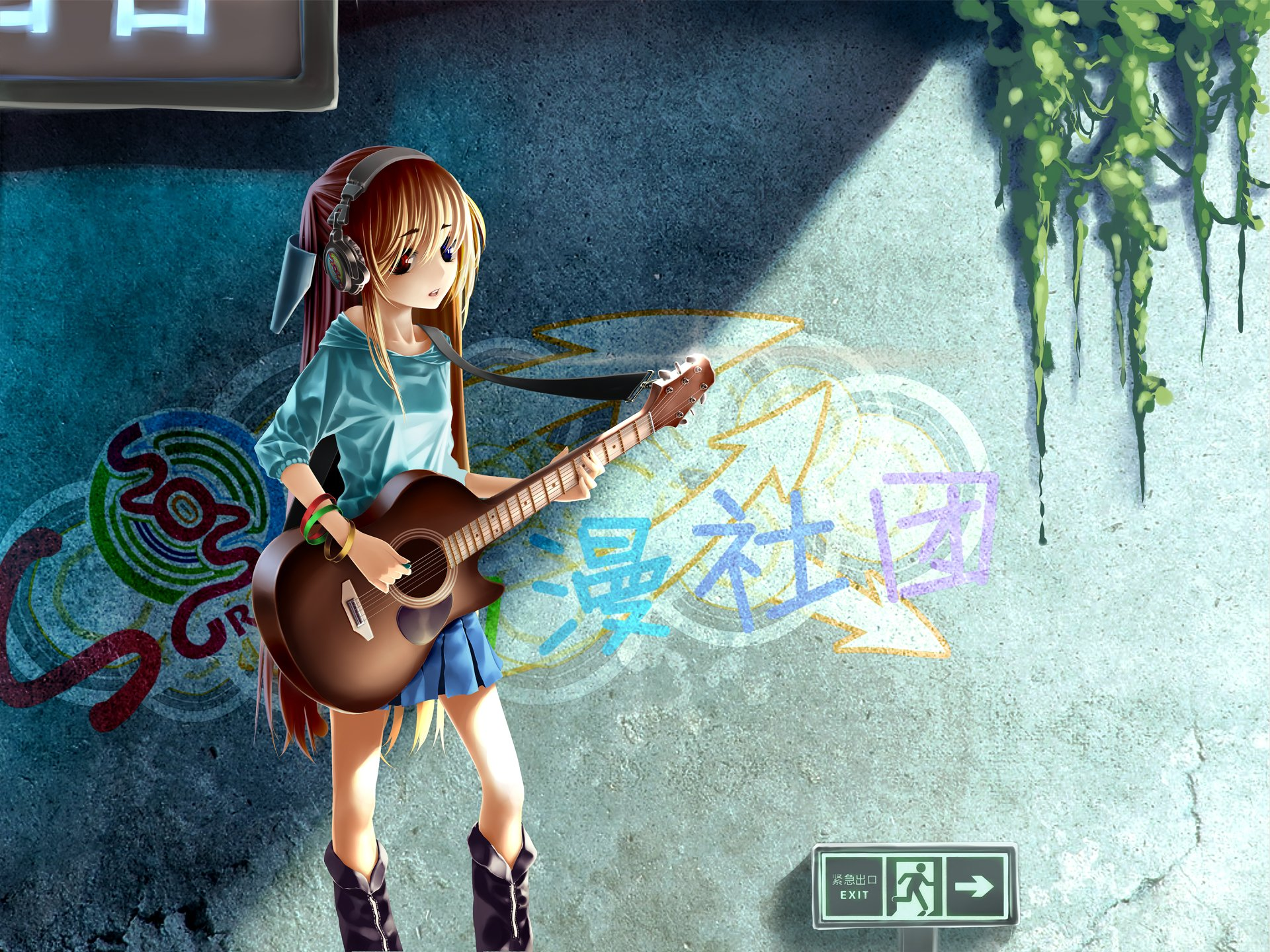 Anime - Headphones  Emo Guitar Girl Wallpaper