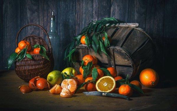 Food Still Life Basket Fruit orange Mandarin HD Wallpaper | Background Image