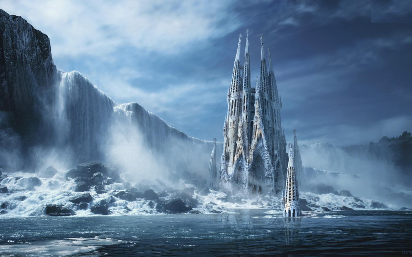 Fantasy - Castle  Ice Sky Unicorn Ocean Snow Wallpaper