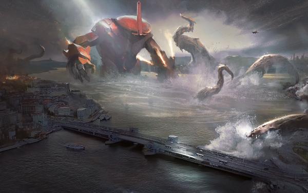 Sci Fi Robot Sea Monster HD Wallpaper   Background Image