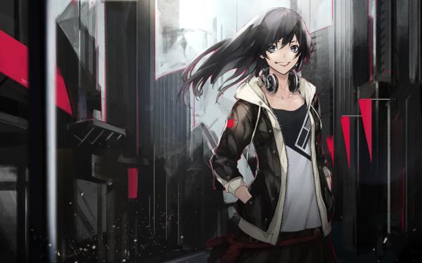 Anime Original Long Hair Black Hair Blue Eyes Smile Headphones HD Wallpaper   Background Image