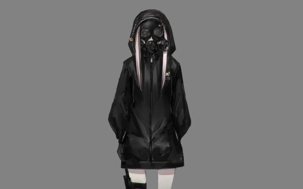 Anime Original Pink Hair Gas Mask HD Wallpaper   Background Image