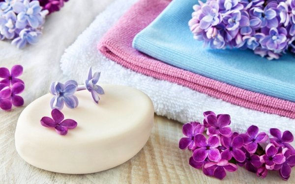 Man Made Spa Still Life Lilac Towel Soap Purple Hair HD Wallpaper | Background Image