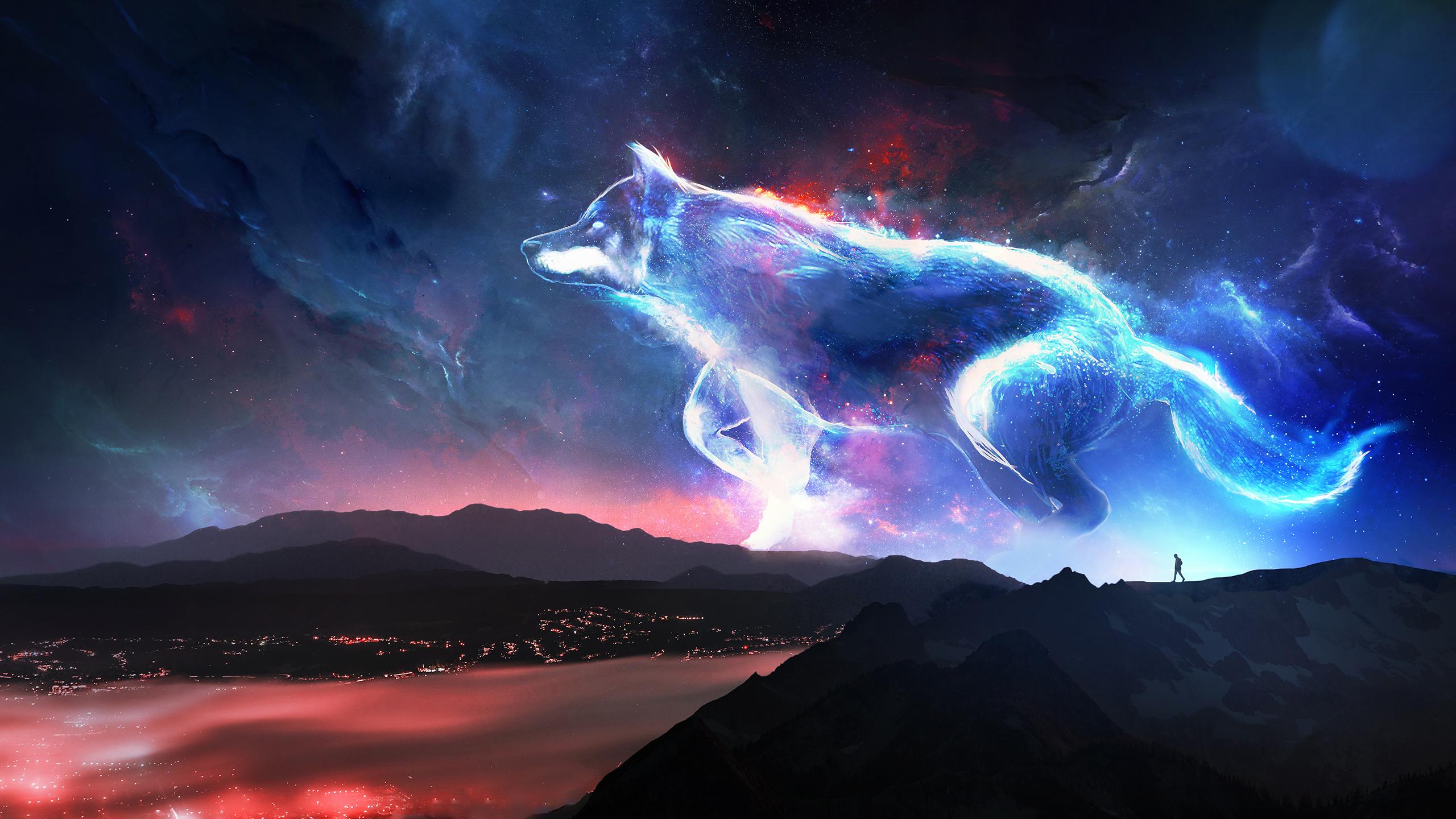 Spirit Wolf Watching Over The Land Hd Wallpaper