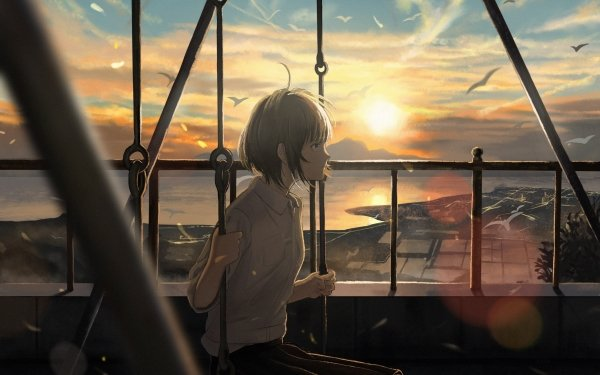Anime Original Short Hair Brown Hair Sunset Bird Swing Blue Eyes HD Wallpaper   Background Image