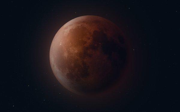 Earth Moon Blood Moon Lunar Eclipse Stars HD Wallpaper | Background Image