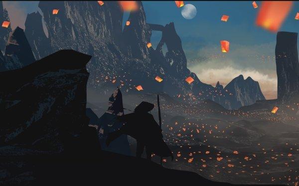 Anime Original Laterne Nacht Mond Man HD Wallpaper | Hintergrund