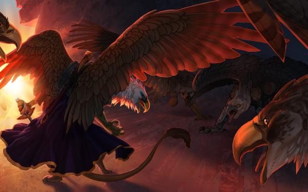 Fantaisie Griffon Animaux Fantastique Oiseau Aigle Fond d'écran HD | Arrière-Plan
