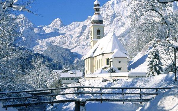 Tierra/Naturaleza Invierno Iglesia Puente Arquitectura Snow Fondo de pantalla HD | Fondo de Escritorio