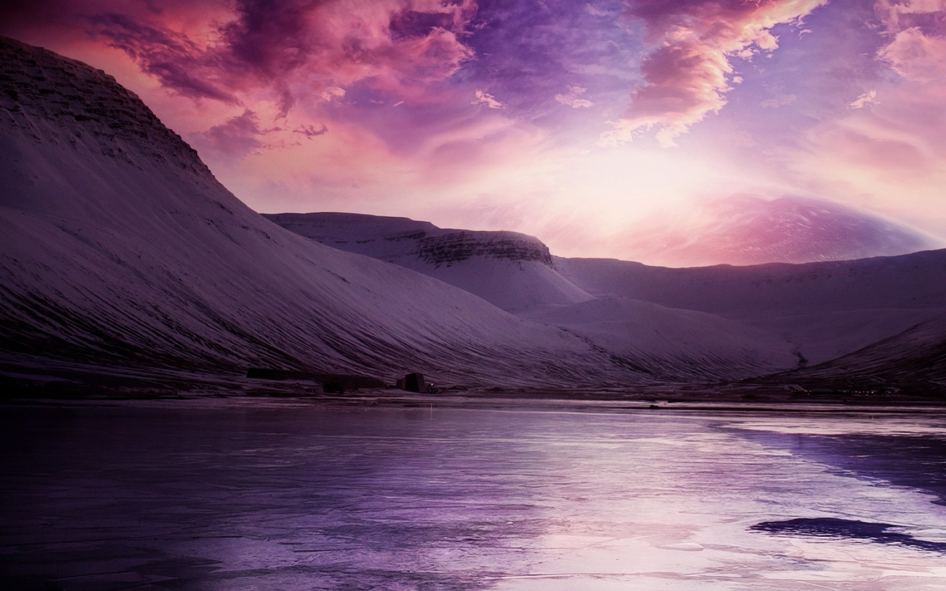 Beautiful Winter Sky Over Frozen Lake Fondo De Pantalla Hd