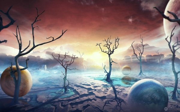 Artistic Desktopography Sci Fi Landscape Astronaut Planet HD Wallpaper   Background Image