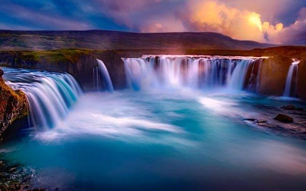 Earth Goðafoss Waterfalls Waterfall Sky HD Wallpaper | Background Image