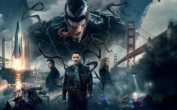 Movie Venom Tom Hardy Riz Ahmed Michelle Williams Eddie Brock Carlton Drake Marvel Comics Antihero Symbiote Superhero San Francisco Bridge Rocket HD Wallpaper | Background Image