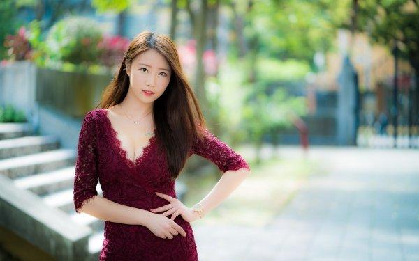 Women Asian Woman Model Depth Of Field Brunette Red Dress HD Wallpaper | Background Image