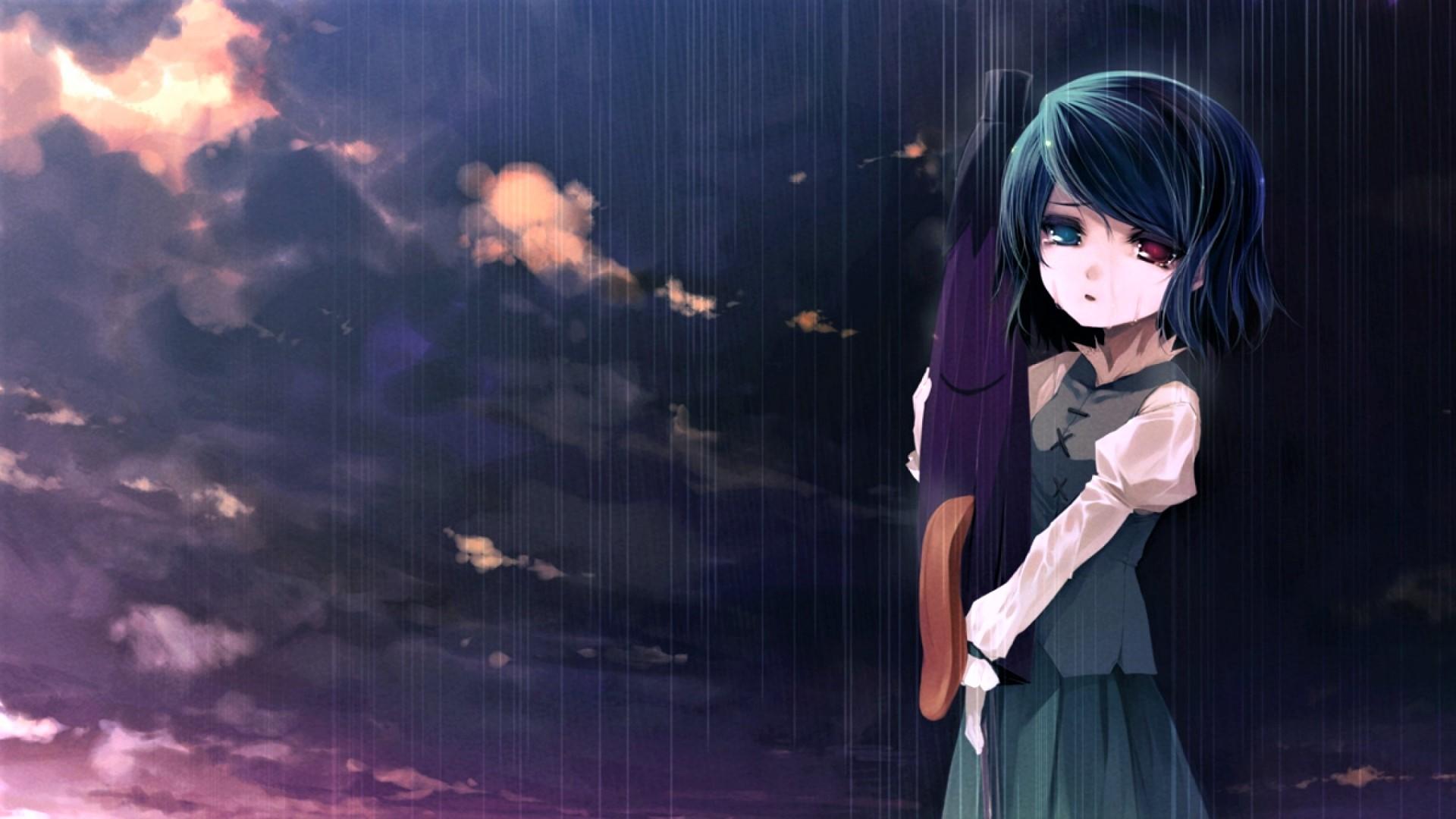 Sad Anime Girl In The Rain Hd Duvar Kağıdı Arka Plan 1920x1080