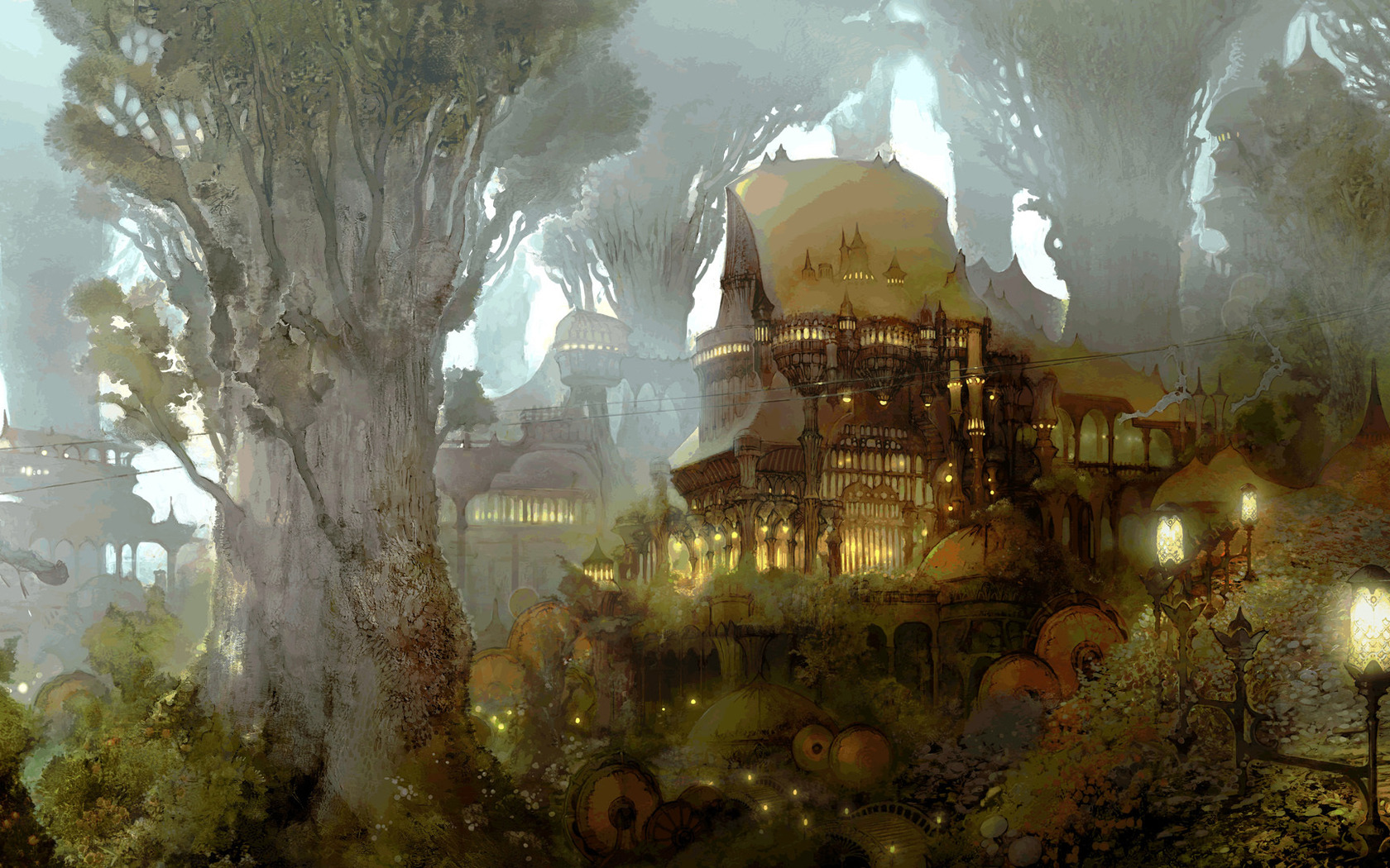 Fantasy - Forest  Elvish Forest House Wallpaper
