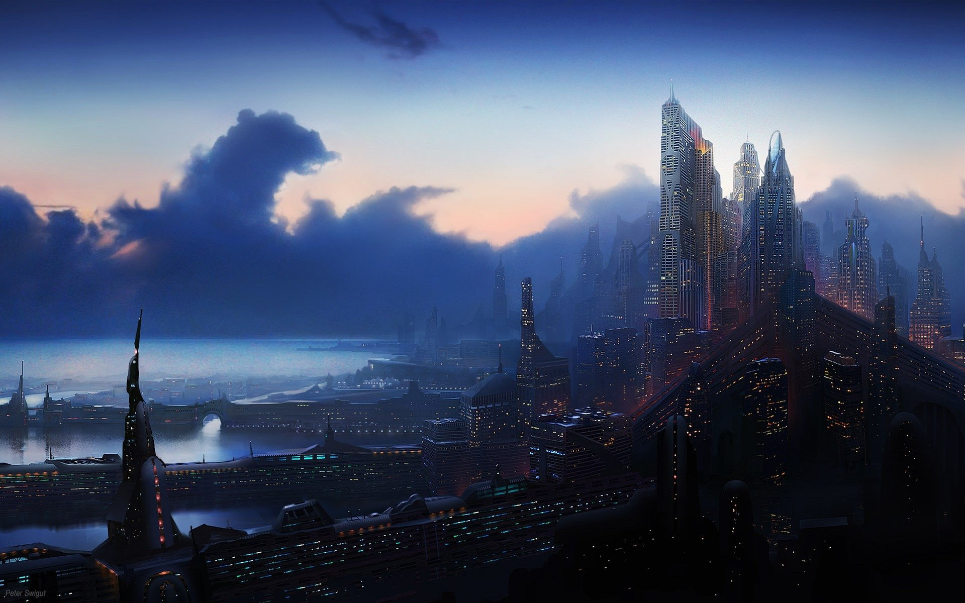 Sci Fi - City  CGI Sci Fi Cityscape Technology Coastline Ocean Light Sunset Wallpaper