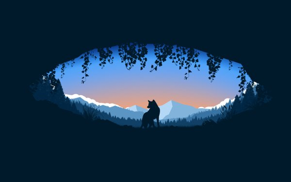 Artístico Minimalismo Lobo Cueva Fondo de pantalla HD | Fondo de Escritorio