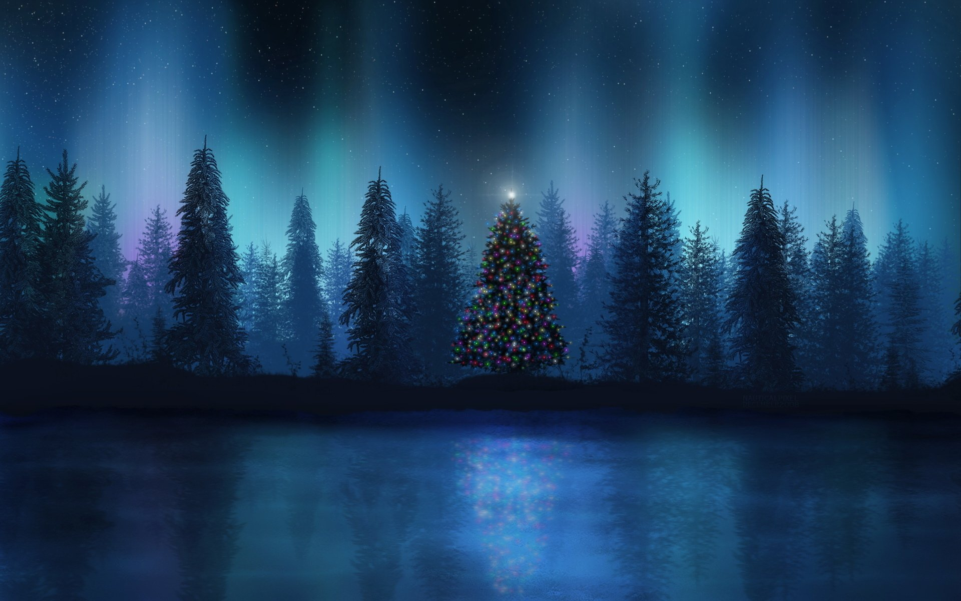 Holiday - Christmas  Tree Forest Christmas Tree Wallpaper