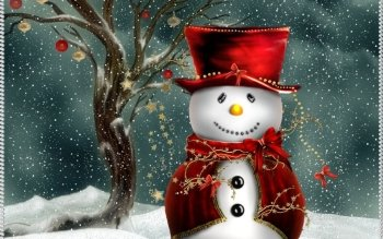 Holiday Christmas Christmas Ornaments Snowman Snowflake Snow Hat Red White Tree HD Wallpaper | Background Image