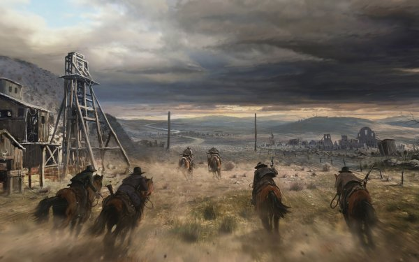 Fantasy Warrior Cowboy Horse Western HD Wallpaper | Background Image