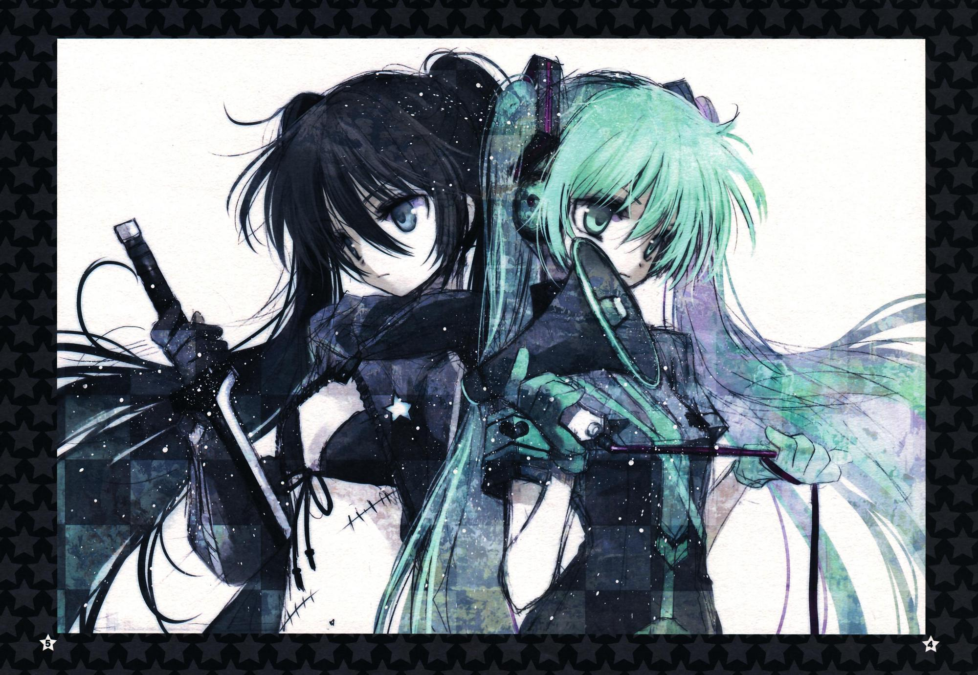 Anime - Crossover  Black Rock Shooter Hatsune Miku Wallpaper