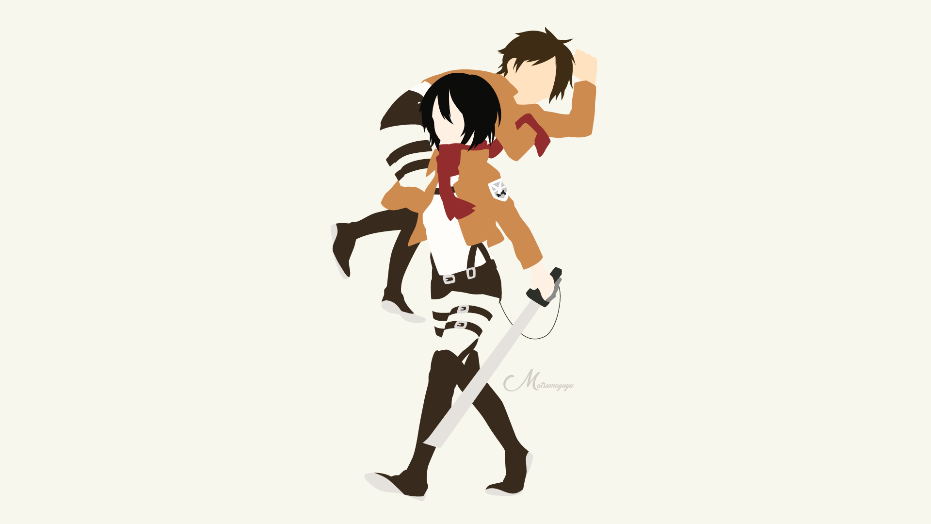 Mikasa and Eren from Attack on Titan HD Wallpaper ...