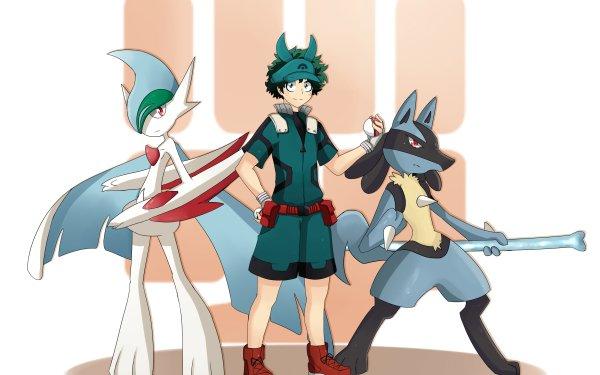 Anime Crossover My Hero Academia Pokémon Izuku Midoriya Gallade Lucario HD Wallpaper | Background Image