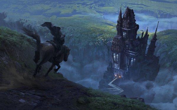 Fantaisie Maison Cheval Man Chemin Fond d'écran HD   Arrière-Plan