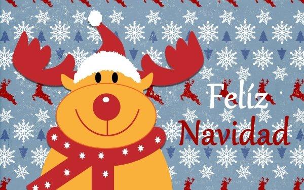 Holiday Christmas Rudolph Reindeer Merry Christmas Santa Hat Snowflake HD Wallpaper | Background Image