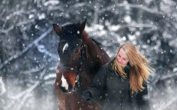 Women Blonde Woman Long Hair Winter Animal Horse HD Wallpaper   Background Image