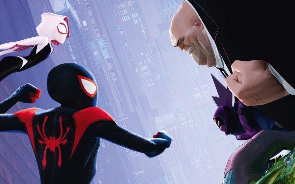 Movie Spider-Man: Into The Spider-Verse Spider-Man Miles Morales Spider-Gwen Kingpin HD Wallpaper   Background Image